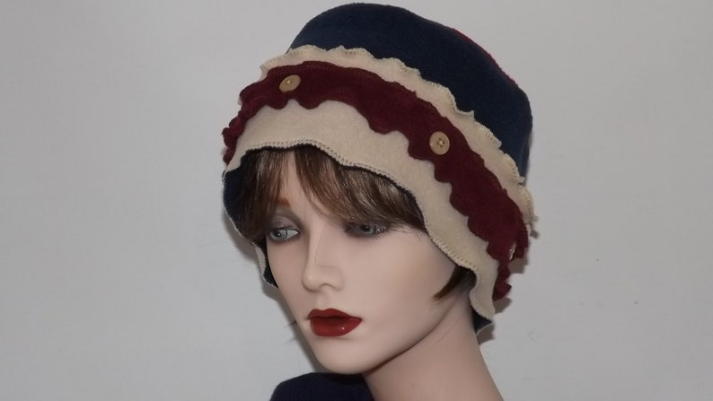 Ladies Cream and Navy Fleece Hat Ladies Winter Hats Stylish  00e7a341af8