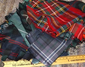 Tartan Remnant Pieces, Small Project Fabric, Grab Bag of Tartan