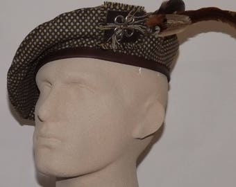 Men's Brown Tweed Beret, Brown Tam with Feathers, Scottish Bonnet