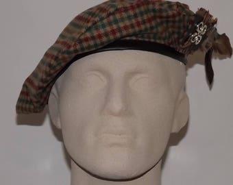 Men's Brown and Green  Tweed Beret, Green Tam, Men's Brown Hat