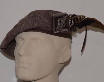 Men's Brown Tweed Beret, Brown Tam, Men's Brown Hat