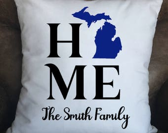 Home Pillow Cover, Decorative Pillow, Cover ONLY, State Throw Pillow, Custom Pillow, Family Pillow Cover, Farmhouse Decor, New Home Gift