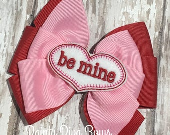 Valentines Day Hair Bow, Pink and Red Bow, Valentine Bow, Be Mine Bow, Pinwheel Hair Bow, 4 Inch Hairbow, Pink and Red Hair Bow, Toddler