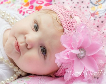 Baby Hat, Infant Kufi Hat, Infant Hat, Pink Hat, Adjustable Hat, Newborn Hat, Pink Hat with Flower, Crochet Hat, Hospital Hat, New Baby