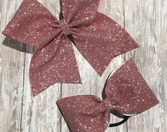 ROSE GOLD Cheer Bow, Tail or No Tail Cheer Bow, Large Glitter Cheer Bow, Sparkle Bow, Cheerleading Bow, Glitter Bow, Big Cheer Bows