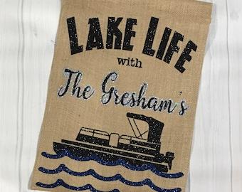 Lake Life Garden Flag, Lake House Decor, Nautical Flag, Nautical Decor, Pontoon, Summer Garden Flag, Personalized Garden Flag, Garden Flag,