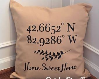 Home Pillow Cover, GPS Longitude Latitude Pillow, Throw Pillow, Pillow COVER ONLY, Home Decor, Farmhouse Decor, Housewarming Gift, New Home