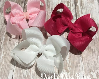 THREE Bows, 3 Inch Bow, Trio, Girls Bows, Toddler Hair Bows, Small Hair Bows, Pink Bows, Toddler Hair Bows, Hot Pink Bow, White Bow