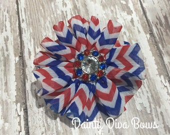 Patriotic Hair Clip, Red White Blue, Hair Bow, Chiffon Bow, Fourth of July, Patriotic Bow, toddler hair bow