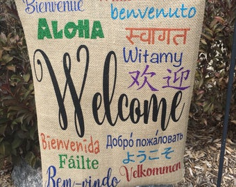 Welcome Flag, Multi-Language Flag, Garden Flag, Garden Decor, Welcome Home, Diversity Flag, Welcome to our Home, Welcome Different Languages