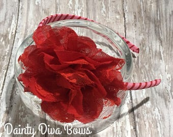 Red and Pink Headband, Valentines Headband, Valentines Day, Red Flower Headband, Ribbon Wrapped Headband, Toddler Headband, Girls Headband