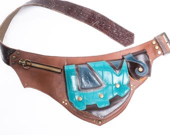 Made to Order- Three Pocket Utility Pouch Belt- Pick your colour- Steampunk Festival Belt, Burning Man, Tribal, Fairy, Forest