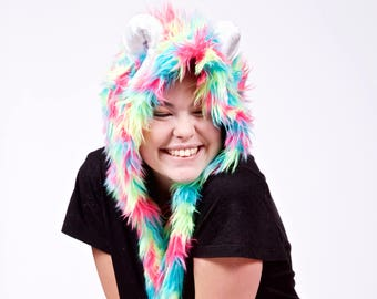 Rainbow Monster Scoodie With Upcycled Horns- Festival Hood, Burning Man, perfect for a Winter Rave or Christmas, Kandi Costume