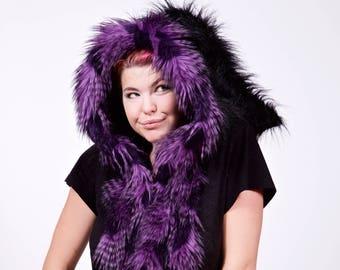 Black and Purple Faux Feather Fur Elf Scoodie, Winter Warm Hood, Christmas Costume, Fairy Festival, Burning Man, Rave, LARP