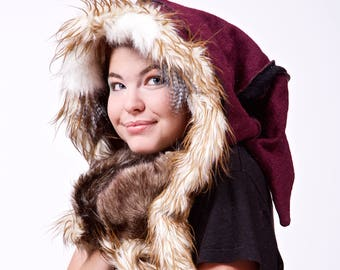 Pick Your Colour! Upcycled Wool and Faux Fur Elf Scoodie, Winter Warm Hood, Christmas Costume, Fairy Festival, Burning Man, Rave, LARP