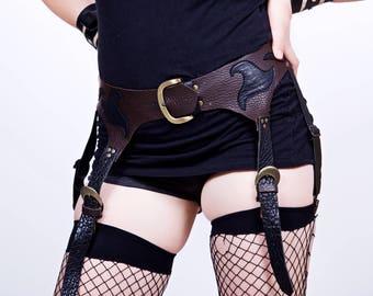 Brown and Black Leather Garter Belt- Adjustable- Steampunk, Burning Man, Tribal, Fairy, Festival, Cosplay, BDSM, Kink
