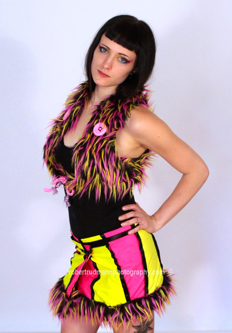 7683063d4 Upcycled Reversible Neon Pink Yellow and Black Monster Vest
