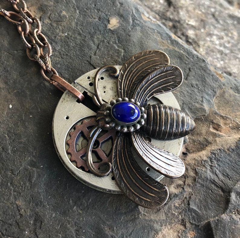 Up cycled Butterfly Pendant designsbyroyce Unisex Steampunk Necklace Unique Jewelry Lapis Steampunk Pendant Moth Pendant