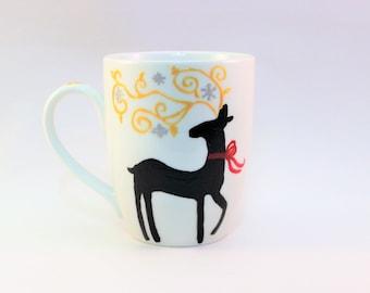 Hand painted holiday coffee mug, Christmas reindeer mug - single mug, ready to ship