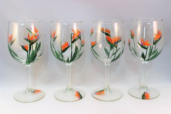 Hand Painted Wine Glasses With Birds Of Paradise Flowers Etsy
