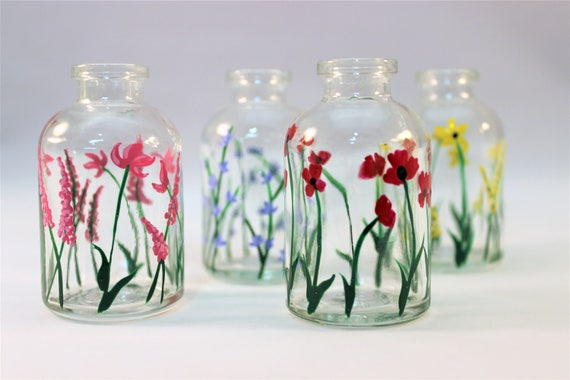 Hand Painted Wild Flower Miniature Glass Vases Tiny Vases Etsy