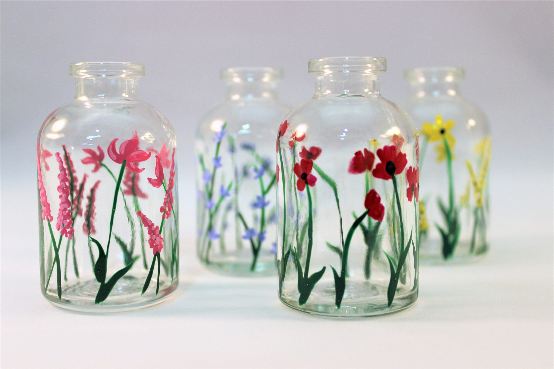 50 & Hand painted wild flower miniature glass vases tiny vases | Etsy