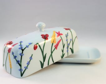 Hand painted butter dish with wild flowers, house warming gift - ready to ship