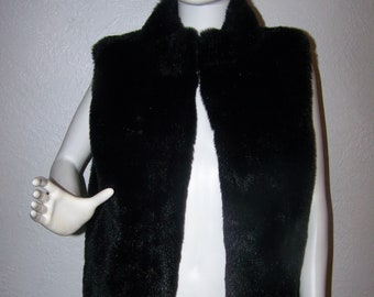 7d927827424 Vintage Worthington Black Faux Fur Vest Size Large Womens Outerwear Fall  Holiday Unisex Winter Fashion Costume Theater Hip Trendy Warm Sexy