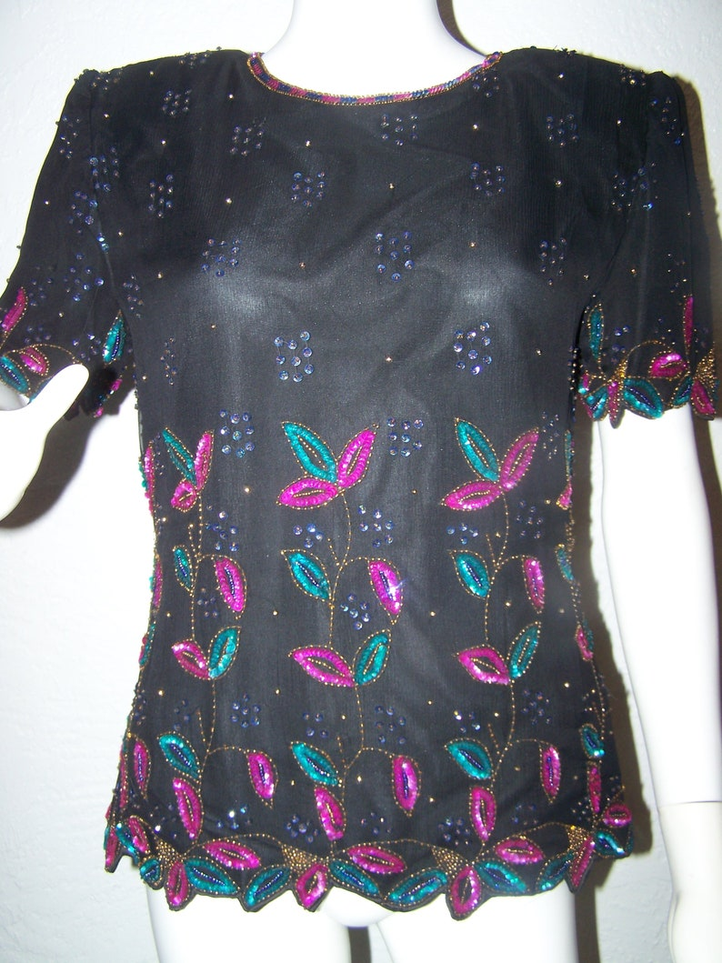 480f681f1b7a1 Stenay Sequin and Bead Leaf Top Size Medium Turquoise Hot Pink