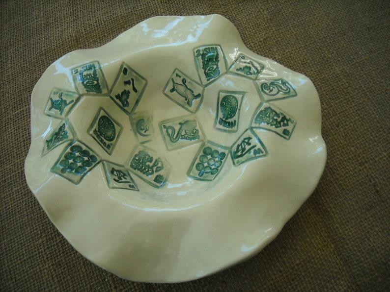 Handmade Mahjong Pottery Mahjong Gift Mahjong Serving Bowl Ruffled Mahjong Bowl White Mahjong Dish