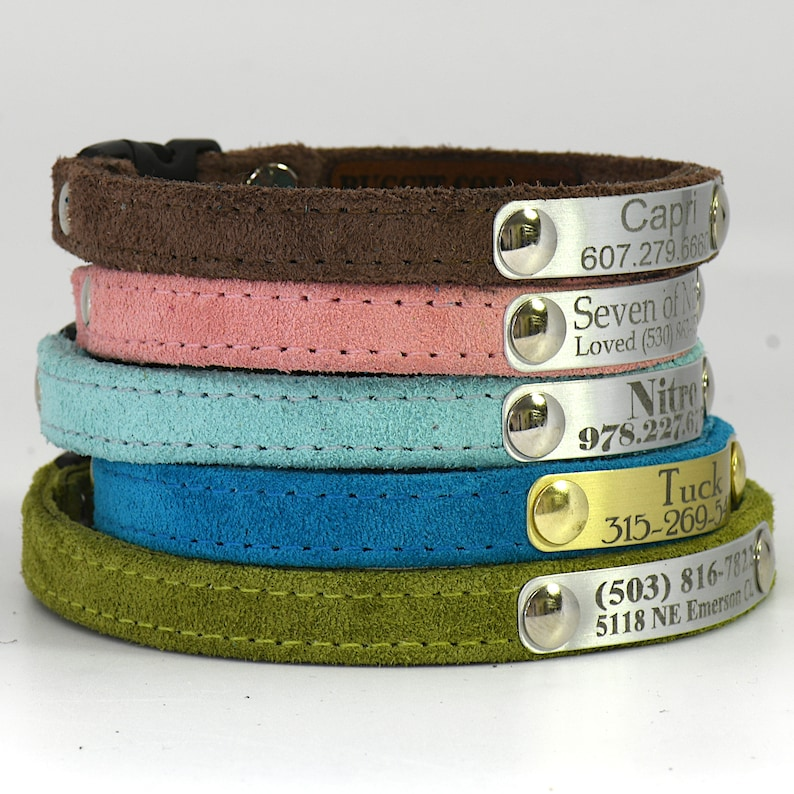 Personalized Suede Cute Cat Collar with Breakaway Buckle by image 0