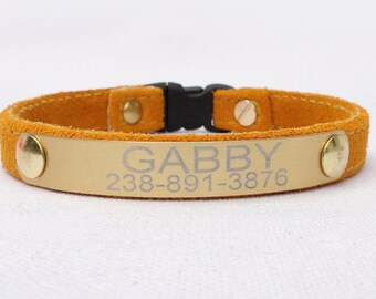 Personalized all suede Cat Collar with Breakaway Buckle-Lightweight engraved plate- with ring for your current tags by Ruggit Collars