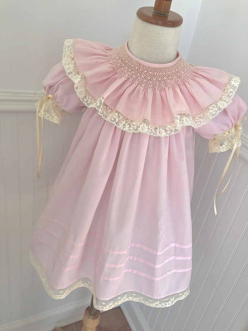 e3dec895238f2 Baby Sister Girl Special Occasion Heirloom Hand Smock Heirloom Dress Pearl  Collar Ecru Lace Size 6m to 6
