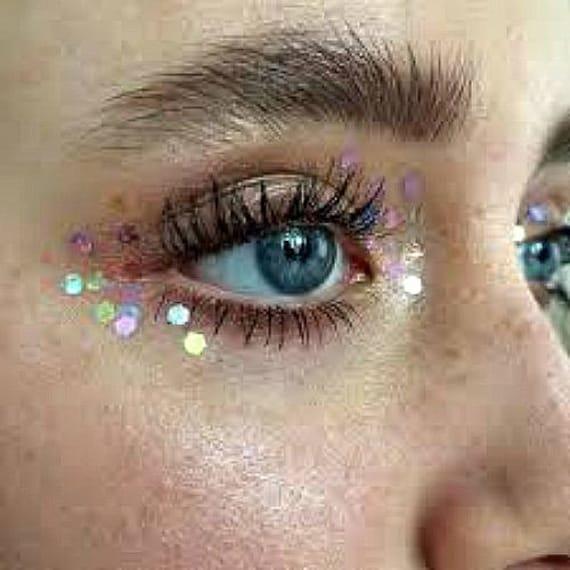 Glitter Face Makeup, Festival Make Up, Cosmetic Grade, Stargazers, Festival  Makeup Looks, Face Glitters, Glitter Highlight, Shimmer Hilite,