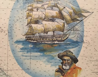 Antique nautical chart art Bahamas