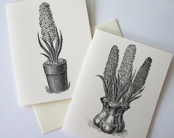 Hyacinth Potted Flower Note Cards Set of 10