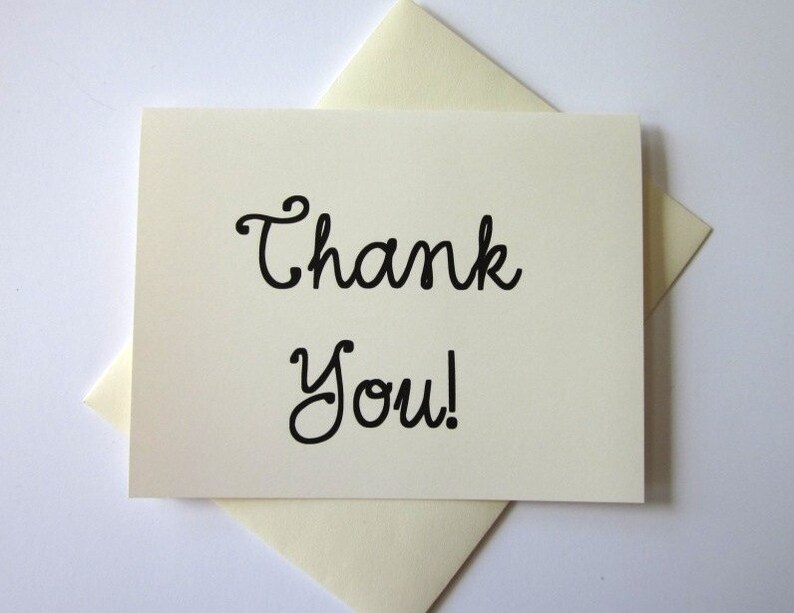 Thank You Note Cards Set of 10 with Matching Envelopes