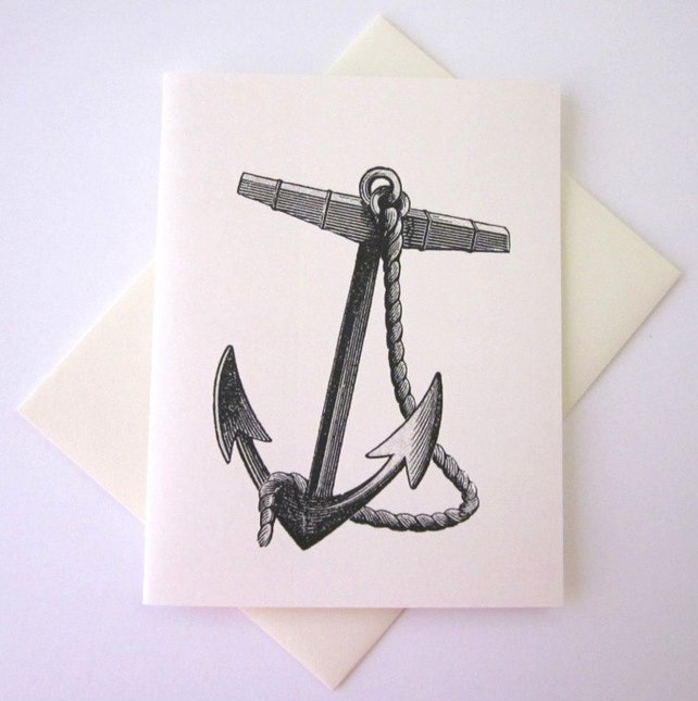 Anchor with Rope Note Card Set of 10 in White or Light Ivory with Matching Envelopes