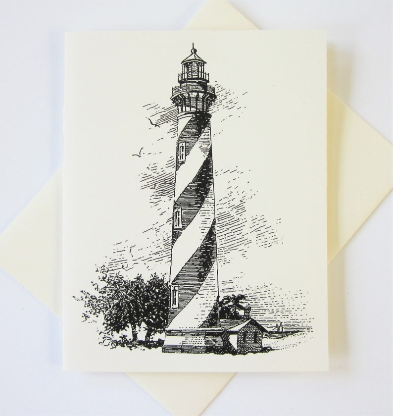 Lighthouse Note Cards Stationery Set of 10 Cards in White or Light Ivory with Matching Envelopes