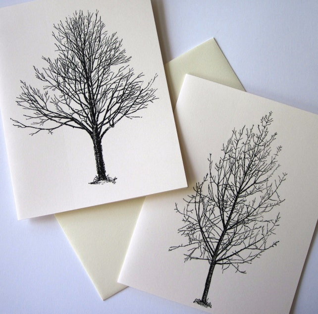 Winter Trees Note Card Set of 10 in White or Light Ivory with Matching Envelopes
