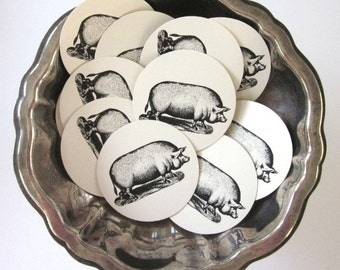PigTags Round Paper Gift Tags Set of 10