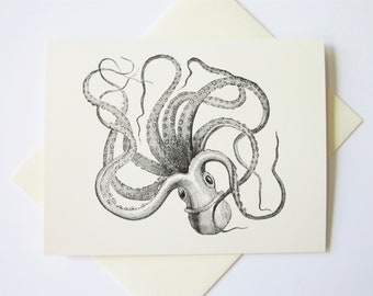 Octopus Note Cards Set of 10 with Matching Envelopes