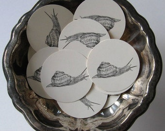 Snail Tags Round Gift Tags Set of 10