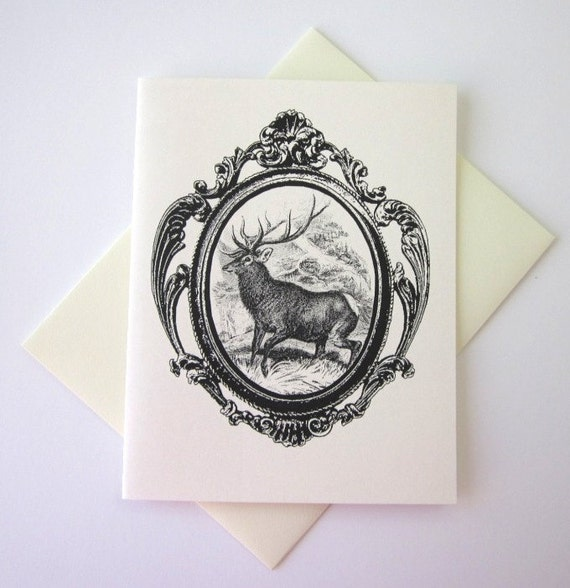 Deer with Antlers Note Card Set of 10 in White or Light Ivory with Matching Envelopes