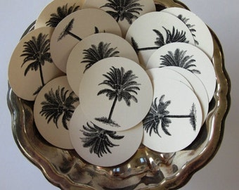 Palm Tree Tags Round Gift Tags Set of 10