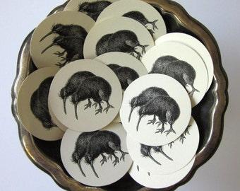 Kiwi Bird Tags Round Paper Gift Tags Set of 10