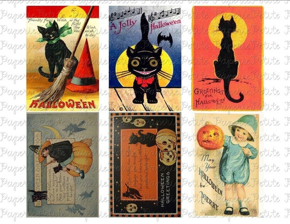 Vintage Halloween Postcards Digital Download Collage Sheet C Etsy