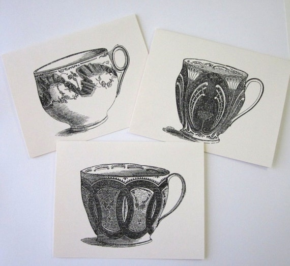 Teacup Note Cards Stationery Set of 10 Cards