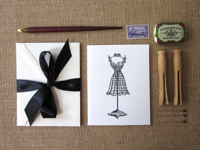 Wire Dressform Note Cards Set of 10 with Matching Envelopes
