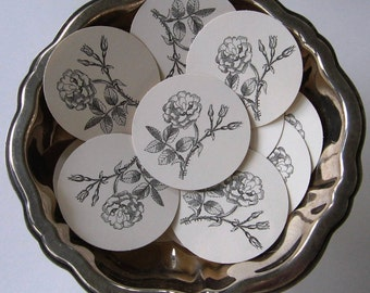 Rose Flower Tags Round Paper Gift Tags Set of 10